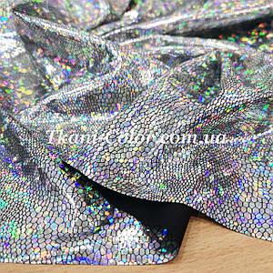 Трикотаж диско голограмма серебро на черном