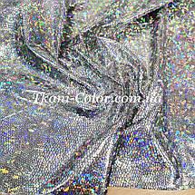 Трикотаж диско голограма срібло на чорному, фото 2