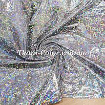 Трикотаж диско голограма срібло на чорному, фото 3