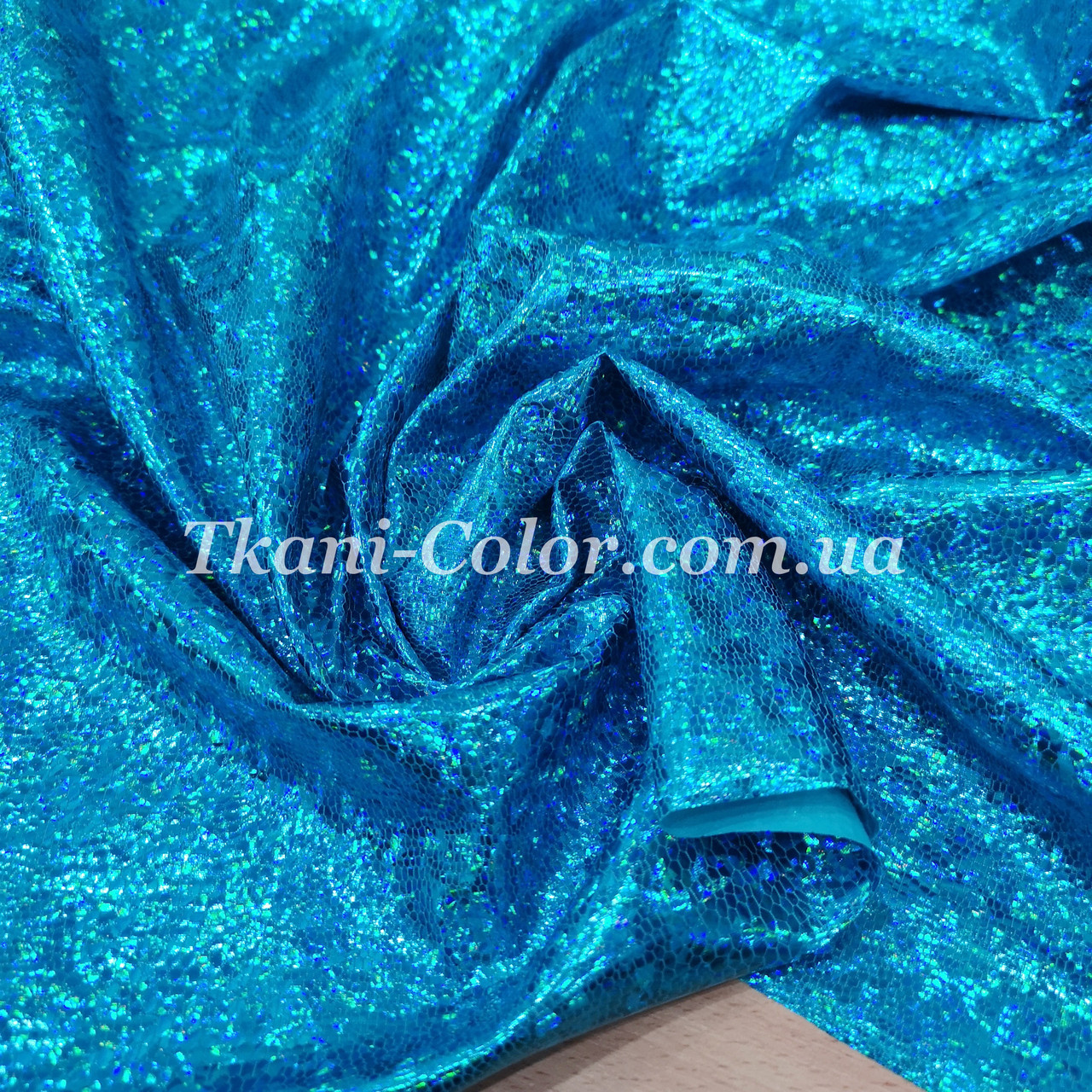 Трикотаж диско голограмма голубая бирюза