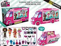 Игровой набор кукла Bella Dolls BL1161 машина д/ кукол, кукла 17,5см+сюрпризы: одежда, украшения, аксессуары, в кор.34*13*20см