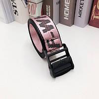 Ремень Пояс Off White Original Belt Розовый с черной  пряжкой  150 см