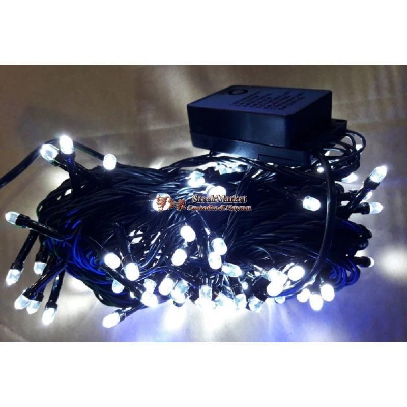 Гирлянда кристалл 100 LED 9м белая на черном проводе