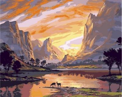 Картина по номерам 40х50см Babylon Turbo Закат над горной долиной
