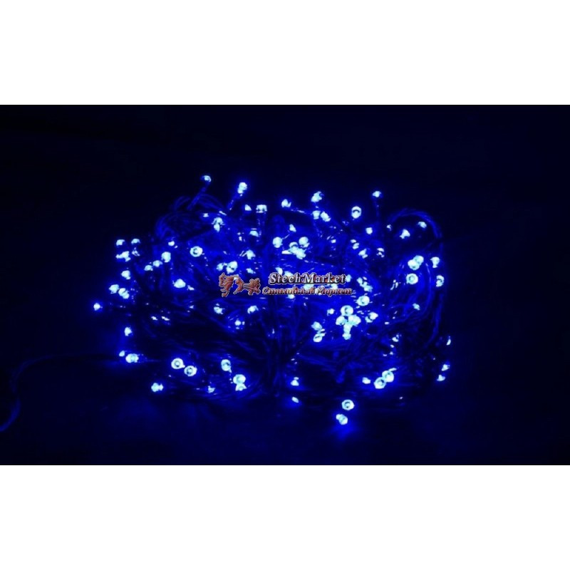 Гирлянда 400 LED 30м синяя на черном проводе