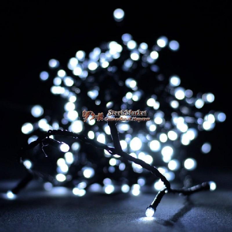 Гирлянда линза 100 LED 9м белая на черном проводе 5mm