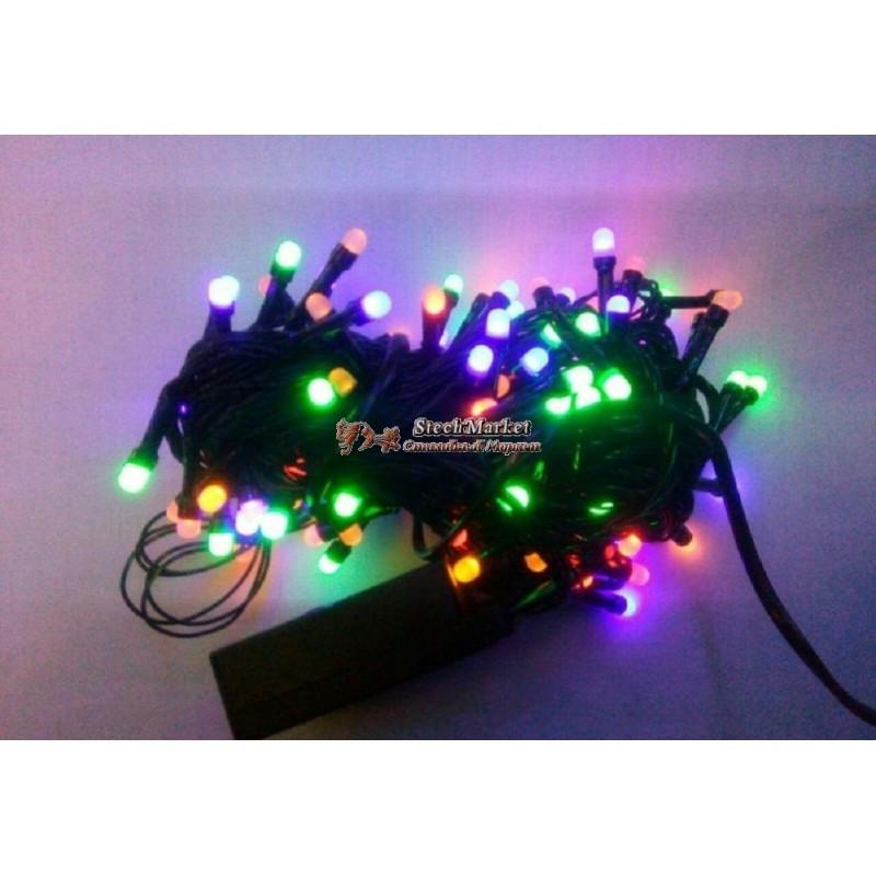 Гирлянда матовая 300 LED 26м на черном проводе разноцветная 5mm