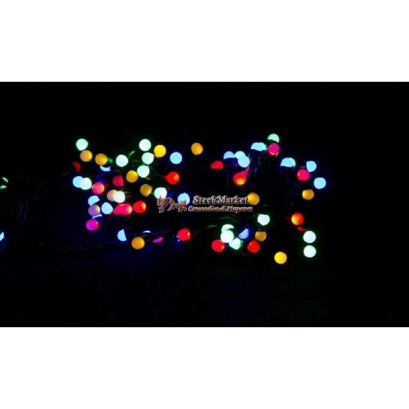 Гирлянда 200 LED 16м разноцветная на черном проводе 8mm