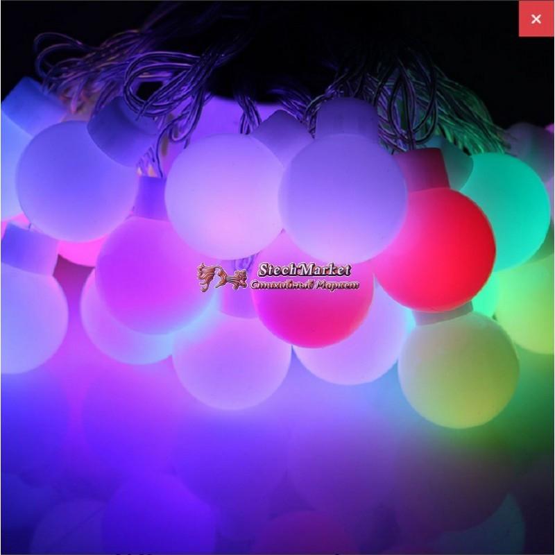 Гирлянда шарики 30 LED на батарейках и черном проводе цвет мульти