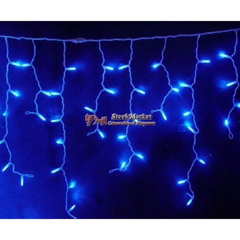 Гирлянда уличная бахрома (сосульки) 100 LED 8mm 3м 70/60/50 см на черном проводе уличная цвет синий