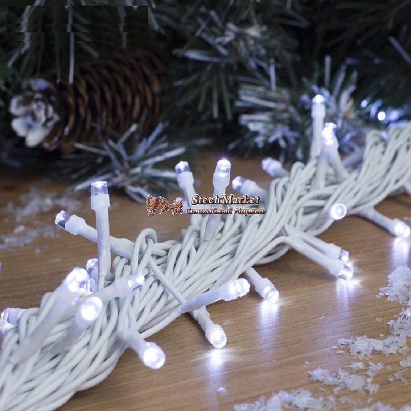Гирлянда профессиональная светодиодная нить 100 LED 10м на белом проводе уличная цвет белый