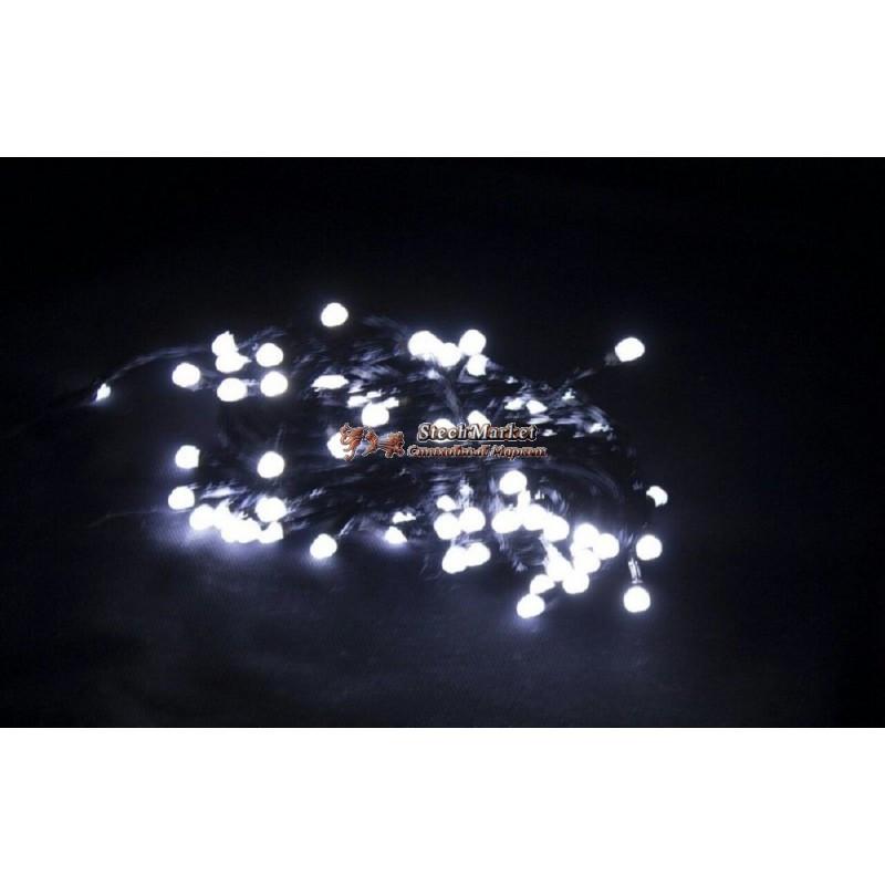 Гирлянда 100 LED 9м белый на черном проводе 8mm