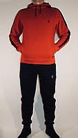 """Мужской спортивный зимний сине красный костюм """"Barbarian"""" с капюшоном на флисе на манжете."""