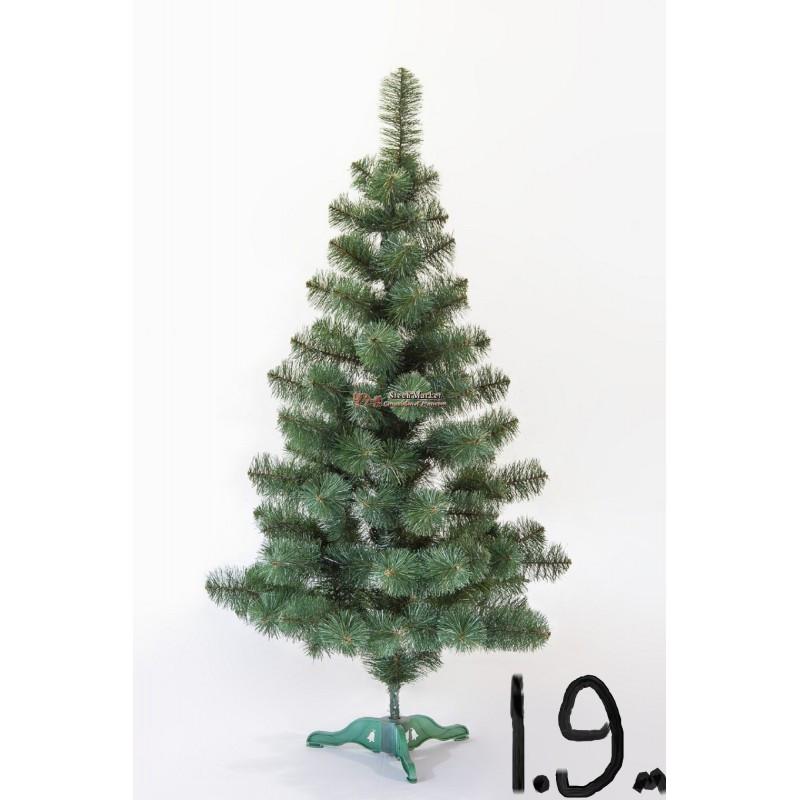 """Искусственная елка """"Принцесса"""" зелёная с белыми кончиками 1.9м"""