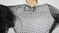 Ткань сетка черная с камнями стрейч блестящая, фото 1