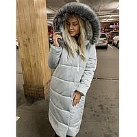 Зимняя женская куртка пуховик длинная 42-50 в цветах