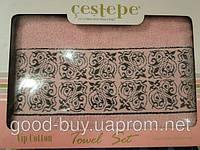 Комплект полотенец Cestepe махра - лицо + баня Турция  pr-q49