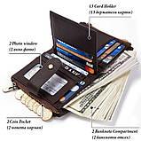 Мужской кошелек из натуральной кожи. Кожаный кошелек мужской портмоне из кожи Синий, фото 6