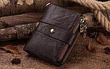 Мужской кошелек из натуральной кожи. Кожаный кошелек мужской портмоне из кожи Синий, фото 7