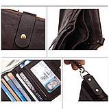 Мужской кошелек из натуральной кожи. Кожаный кошелек мужской портмоне из кожи Синий, фото 9