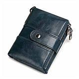 Мужской кошелек из натуральной кожи. Кожаный кошелек мужской портмоне из кожи Синий, фото 2