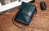 Мужской кошелек из натуральной кожи. Кожаный кошелек мужской портмоне из кожи Синий, фото 3