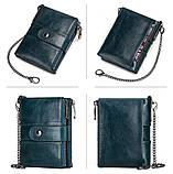 Мужской кошелек из натуральной кожи. Кожаный кошелек мужской портмоне из кожи Синий, фото 4