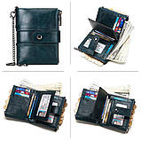 Мужской кошелек из натуральной кожи. Кожаный кошелек мужской портмоне из кожи Синий, фото 5