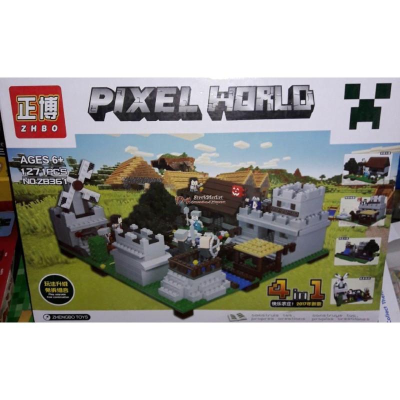 Конструктор Minecraft Pixel World ZB361 4в1 1271 деталь
