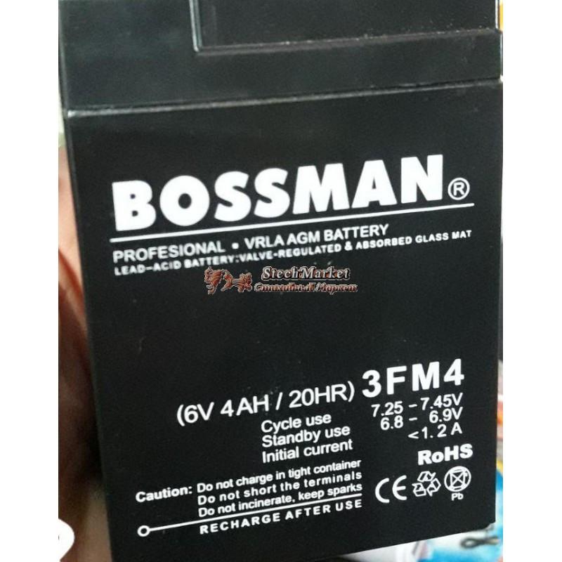 Аккумулятор Bossman Profi 6v 4Аh 3FM4 (70x48x101+5mm) black