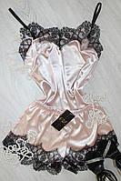 Женская пижама атлас-шелк с кружевом,одежда для дома