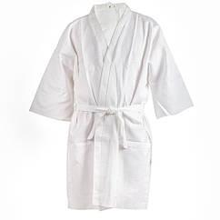 Вафельный халат Luxyart Кимоно L Белый LS-040, КОД: 1103585