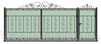 Ворота кованные с калиткой ВК-01