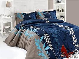 Полуторный комплект постельного белья ренфорс R7085 blue