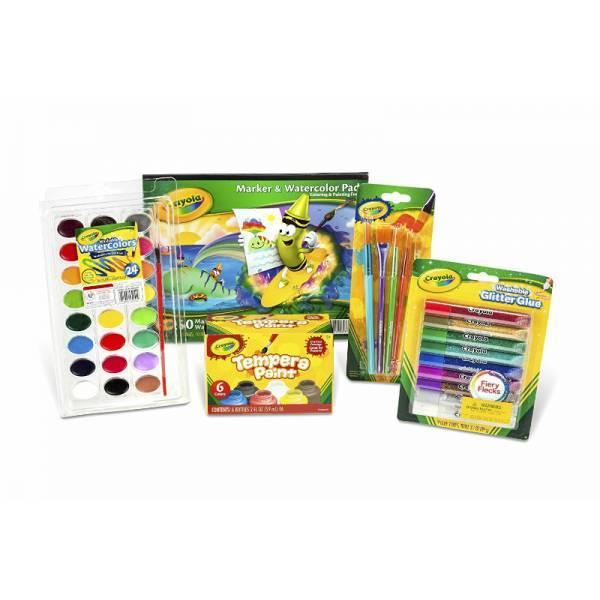 Crayola Школьный набор Краски акварель и темпера, дек. клей, блокнот, кисти Arts Crafts Paint Kit