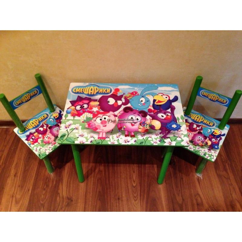 Детский столик и 2 стульчика серия мультфильма Смешарики