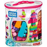 Mega Bloks Конструктор 60 деталей Розовый DCH54 Big Building Bag Pink 60 Piece