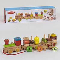 Деревянная каталка-конструктор Поезд, 30 деталей 39272