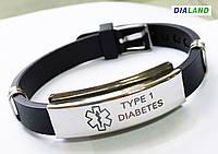 """Силиконовый браслет с металлической пластиной """"TYPE 1 DIABETES"""", фото 1"""