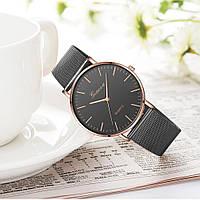 Женские наручные часы Geneva Classic steel watch черные с золотым, кварцевые часы Женева