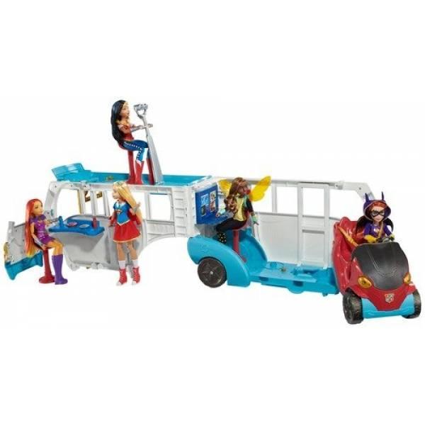 DC Super Hero Girls Автомобиль два-в-одном для кукол 30 см автобус Action Doll Feature Bus