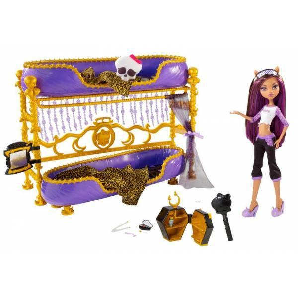 Monster High Клодин Вульф с кроватью Пижамная вечеринка Dead Tired Clawdeen Wolf Doll And Bed Playset