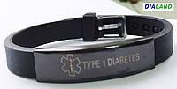 """Силиконовый браслет с черной металлической пластиной """"TYPE 1 DIABETES"""", фото 1"""
