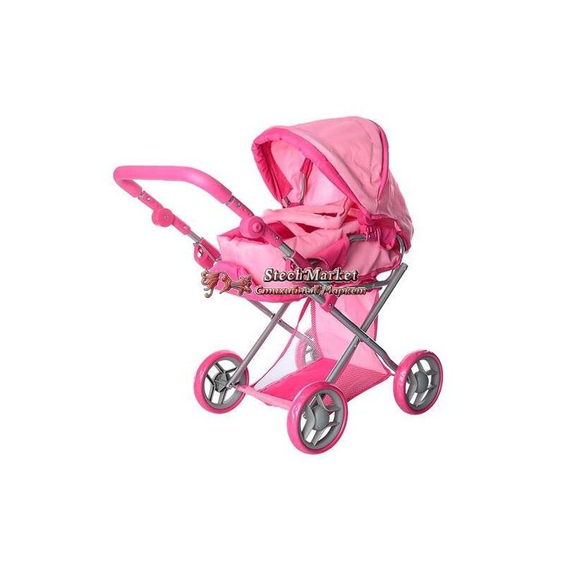 Коляска для куклы 9346 Melogo розовая 2 в 1, демисезон