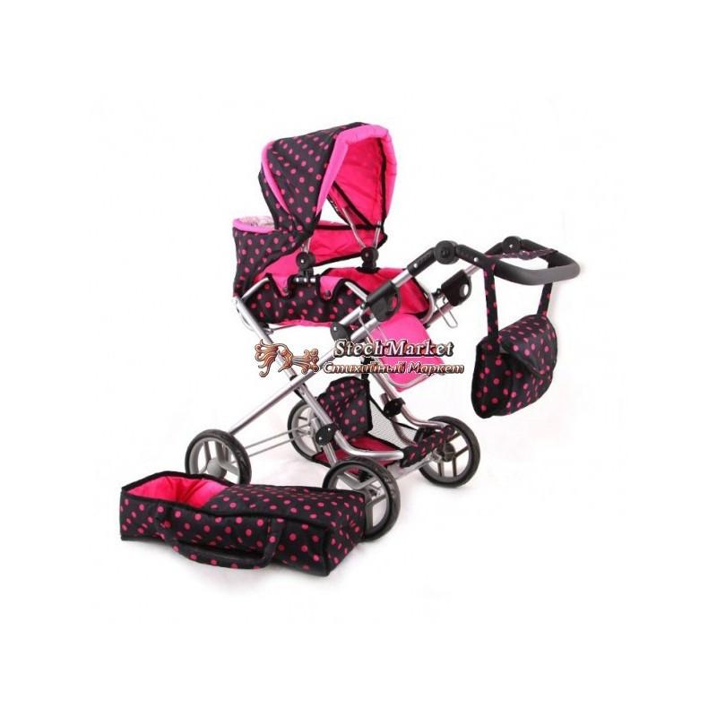 Коляска для куклы 9333 Melogo, с люлькой и сумкой, демисезонная