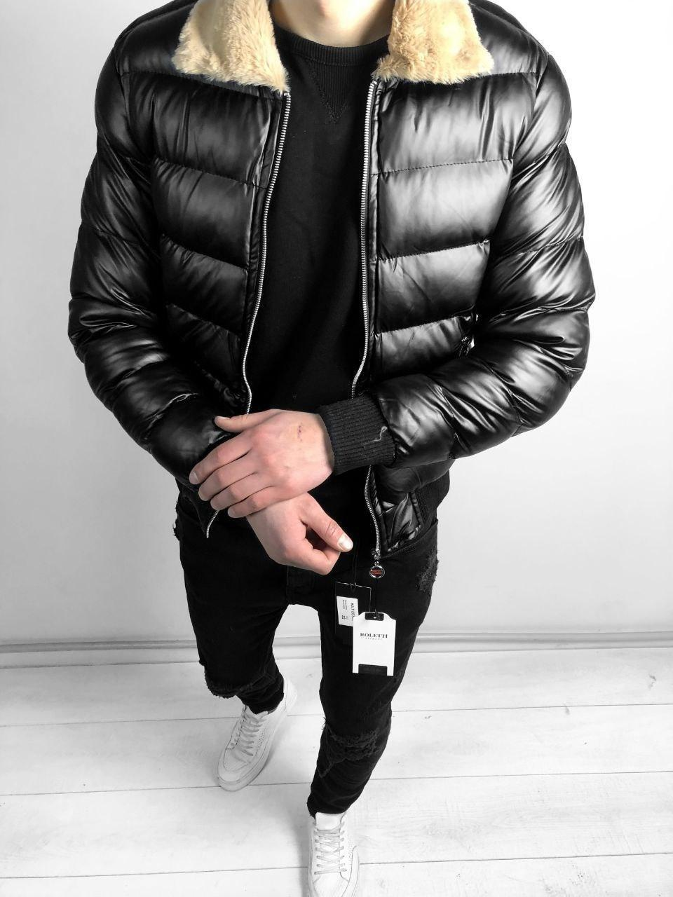 😜 Парку - Чоловіча куртка віскоза з бежевим коміром