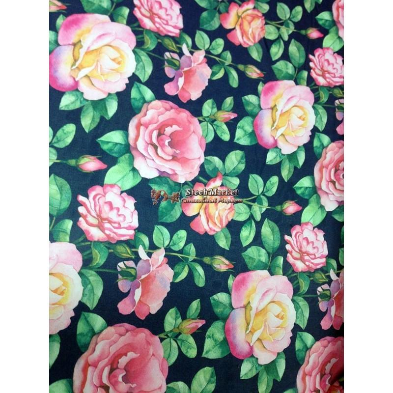 Шифон принт - фон черный цветы(розы) розовый, зеленый