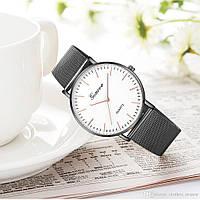 Женские наручные часы Geneva Classic steel watch черные с белым циферблатом, кварцевые часы Женева