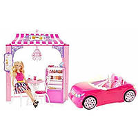 Barbie Барби в кафе малибу с машиной Дом мечты Dreamhouse Malibu Ave Bakery Cafe and Glam Convertible