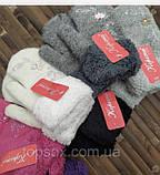 Рукавиці для дівчаток-підлітків ангора з хутряною підкладкою і відворотом 18 см сірі, білі і фіолетові, фото 3